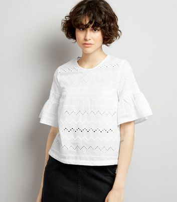 White Cut Out Detail Frill Sleeve Top