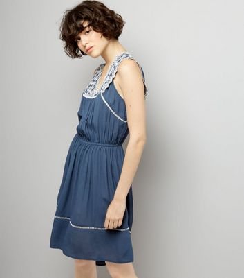 Blue Embroidered V Neck Dip Hem Dress