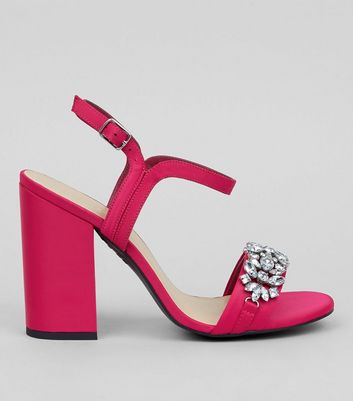 Pink Satin Crystal Strap Heeled Sandals
