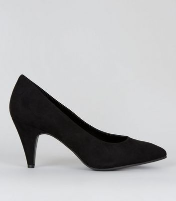 Black Suedette Pointed Kitten Heels