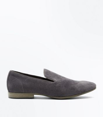 Grey Suedette Loafers