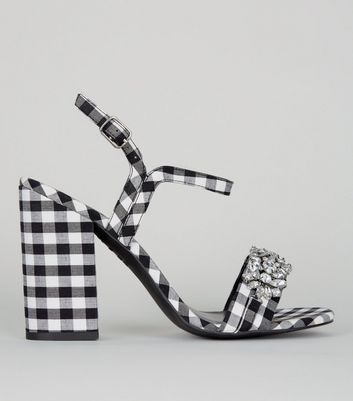 Black Gingham Crystal Embellished Block Heel Sandals