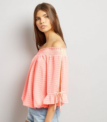 Orange Tie Sleeve Bardot Neck Top