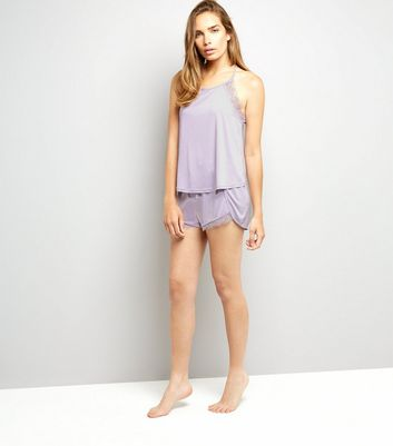 Lilac Lace Trim Vest And Shorts Pyjama Set