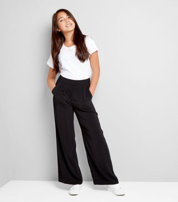 Teens Black Wide Leg Trousers