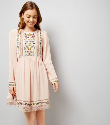 Shell Pink Embroidered Crochet Trim Smock Dress