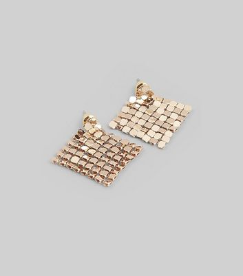 Gold Chainmail Stud Earrings