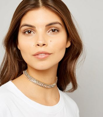 Gold and Silver Diamante Layered Chain Choker