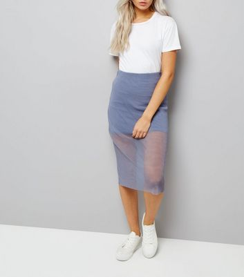 Petite Lilac Sheer Pleated Layered Midi Skirt
