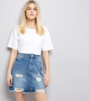 Blue High Waist Ripped Denim Skirt