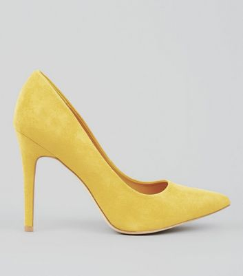 Wide Fit Yellow Suedette Pointed Court Heels