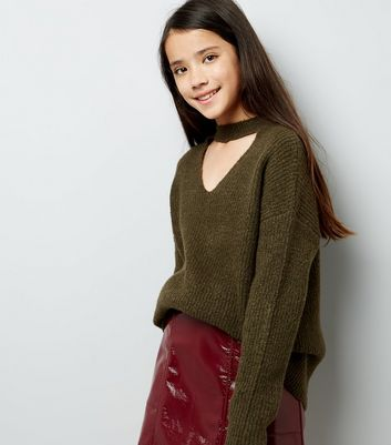 Teens Khaki Choker Neck Jumper