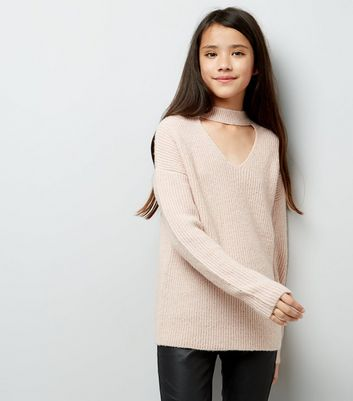 Teens Shell Pink Choker Neck Jumper