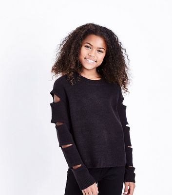 Teens Black Cut Out Sleeve Jumper