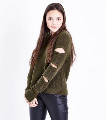 Teens Khaki Cut Out Sleeve Jumper