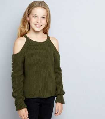 Teens Khaki Cold Shoulder Jumper