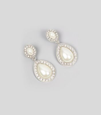 Silver Diamante Pearl Drop Earrings
