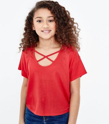 Teens Red Cross Strap Front T-Shirt