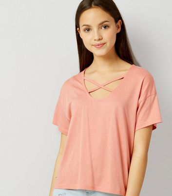 Teens Orange Cross Strap Front T-Shirt