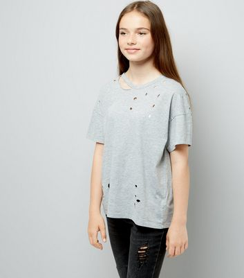 Teens Grey Ripped Oversized T-Shirt