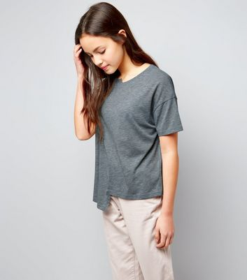 Teens Grey Asymmetric Spliced T-Shirt