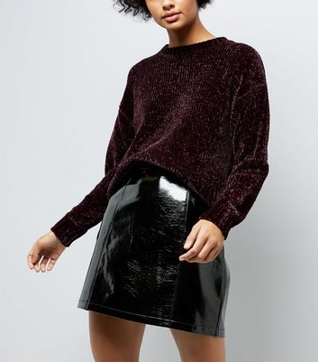 Burgundy Chenille Cropped Jumper