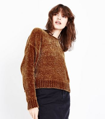 Yellow Chenille Cropped Jumper