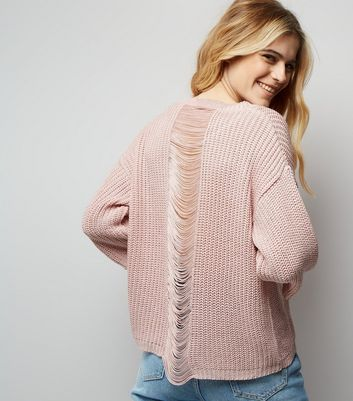 Pink Ladder Knit Back Jumper
