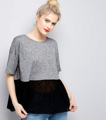 Tall Grey Mesh Peplum Hem Top
