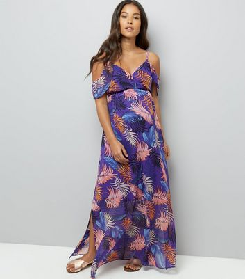 Maternity Purple Tropical Print Cold Shoulder Maxi Dress