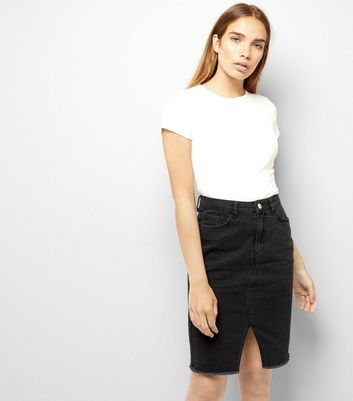 Black Fray Hem Denim Pencil Skirt