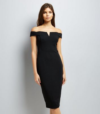 AX Paris Black Bardot Neck Midi Dress