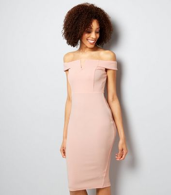 AX Paris Pink Bardot Neck Midi Dress