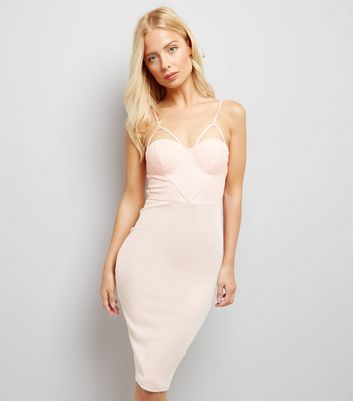 AX Paris Pink Cross Strap Midi Dress