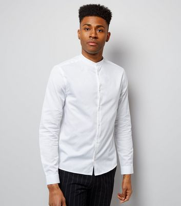 White Long Sleeve Grandad Collar Shirt