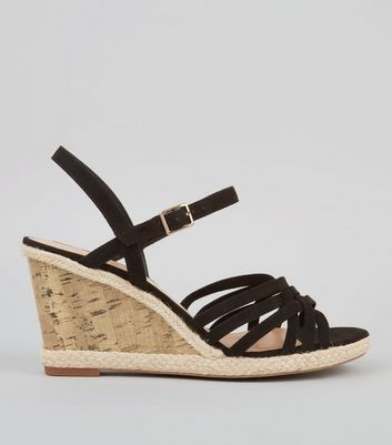 Wide Fit Black Strappy Cork Wedge Heeled Sandals
