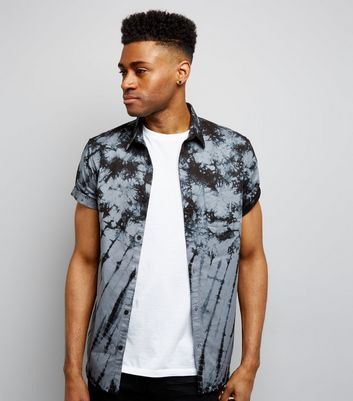 Black Tie Dye Short Sleeve Shirt