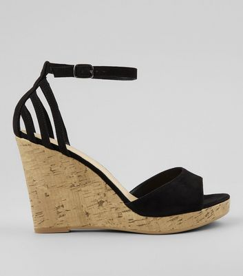 Wide Fit Black Strappy Back Wedge Sandals
