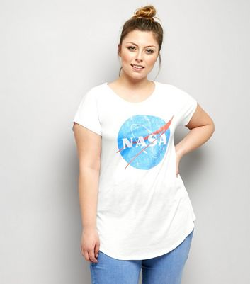 Curves White Nasa Print Short Sleeve T-Shirt