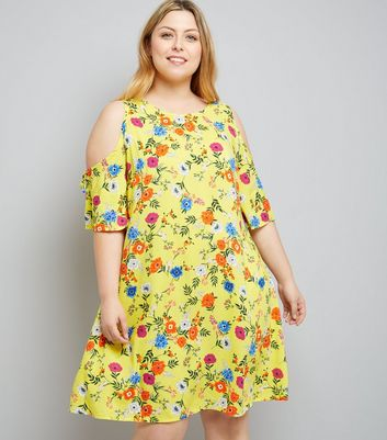 Curves Yellow Floral Print Cold Shoulder Tunic Dress