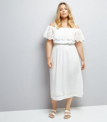 Curves White Cut Out Cold Shoulder Midi Dress