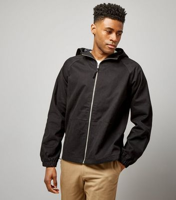 Black Zip Front Hooded Jacket
