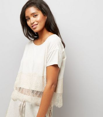 Cream Lace Trim Jersey Pyjama T-Shirt
