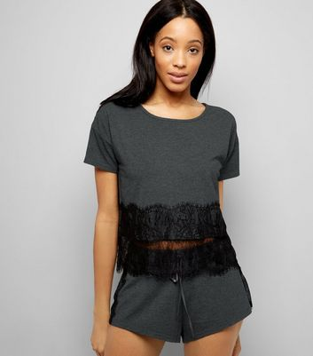 Grey Lace Trim Jersey Pyjama Shorts