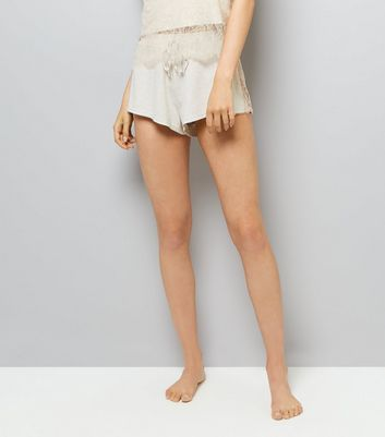Cream Lace Trim Jersey Pyjama Shorts