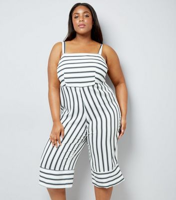 Curves Black Contrast Stripe Cropped Jumpsuit
