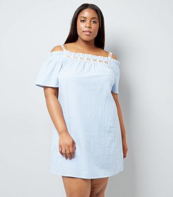 Curves Blue Stripe Bardot Neck Dress