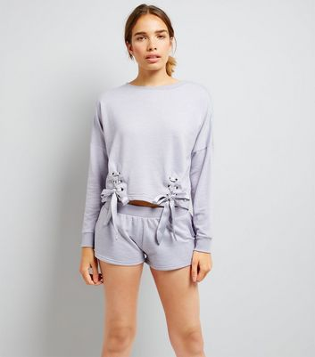 Lilac Lace Up Lounge Set