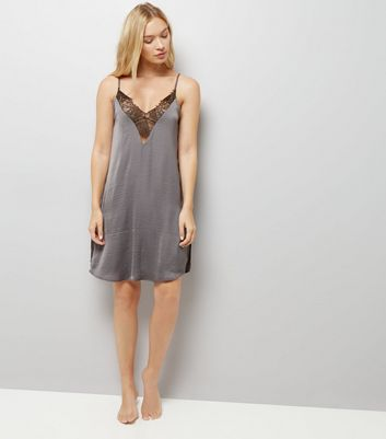 Grey Lace Trim Satin Chemise