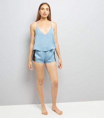 Pale Blue Lace Trim Cami And Shorts Pyjama Set